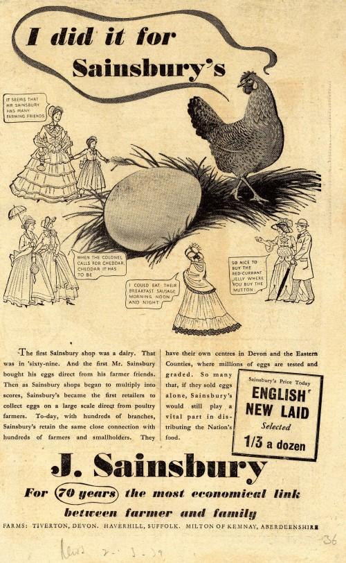 SA/MARK/ADV/1/1/1/1/1/6/20/2 - 'I did it for Sainsbury's' egg advert, 1939