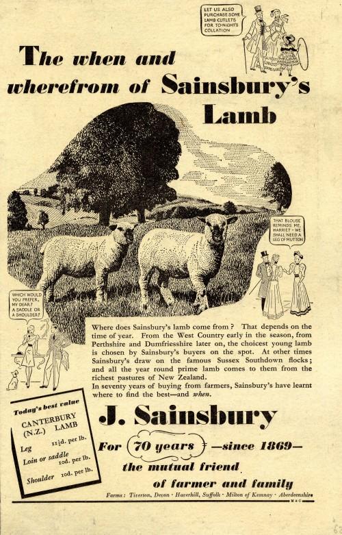 SA/MARK/ADV/1/1/1/1/1/6/20/32 - 'The when and wherefrom of Sainsbury's Lamb' advert, c. 1940