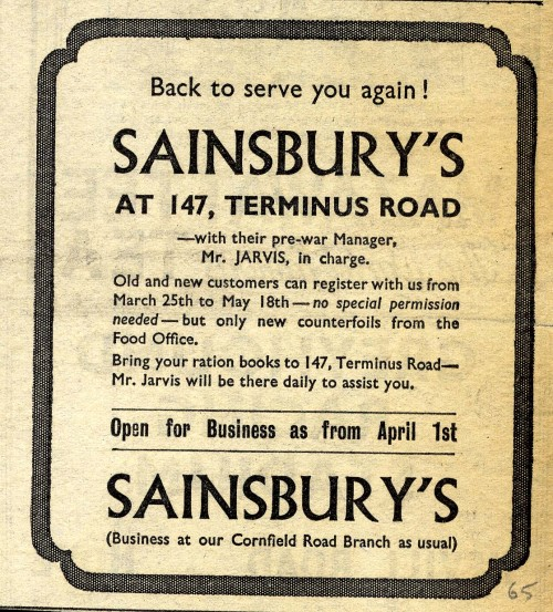 SA/MARK/ADV/1/1/1/1/1/6/20/34 - 'Back to serve you again!' advert, 1946