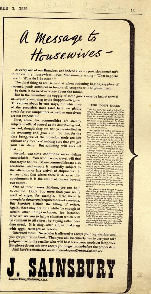 SA/MARK/ADV/1/1/1/1/1/6/20/5 - 'A Message to Housewives' advert 1939