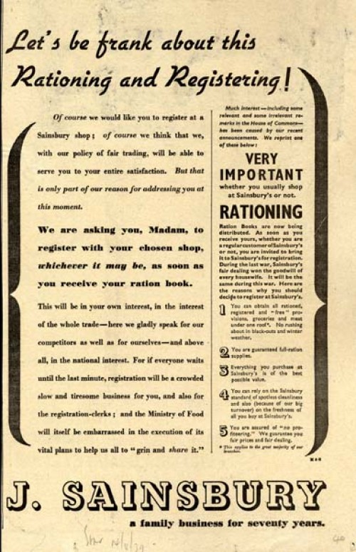 SA/MARK/ADV/1/1/1/1/1/6/20/7 - 'Let's be frank about this Rationing and Registering!' advert, 1939