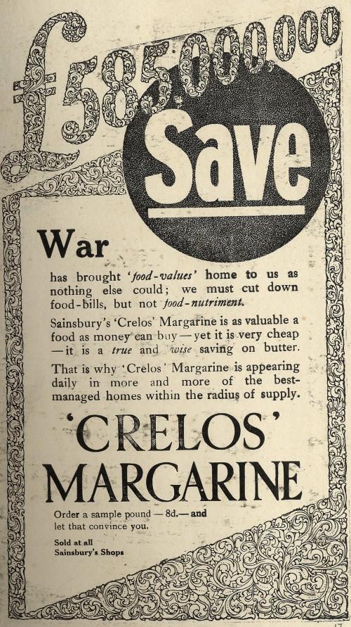 "SA/MARK/ADV/1/1/1/1/1/6/3/20 - ""£585,000,000 save"", war-time Crelos Margarine advertisement"