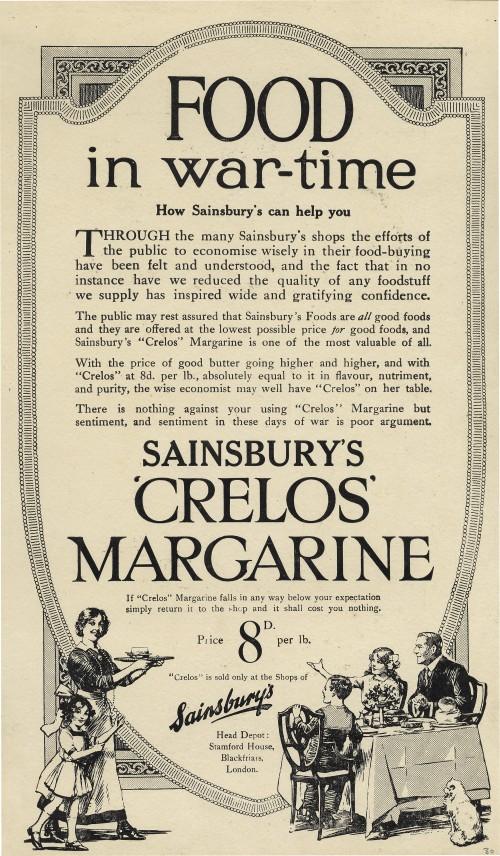 "SA/MARK/ADV/1/1/1/1/1/6/3/35 - ""Food in war-time"" Crelos Margarine advertisement"