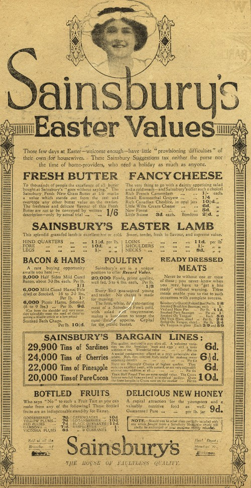 "SA/MARK/ADV/1/1/1/1/1/6/3/60 - ""Sainsbury's Easter Values"" advertisement, 1914"