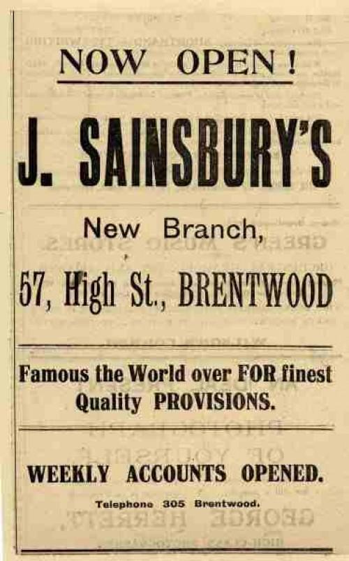 SA/MARK/ADV/1/1/1/1/1/6/8/170 - Brentwood (57 High Street) branch opening advertisement, Oct 1924