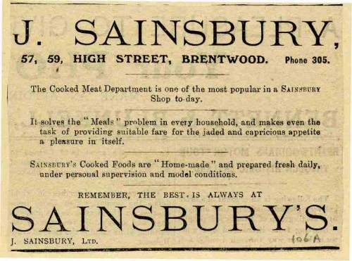 SA/MARK/ADV/1/1/1/1/1/6/8/172 - Brentwood (57/59 High Street) branch advertisement for cooked meat department