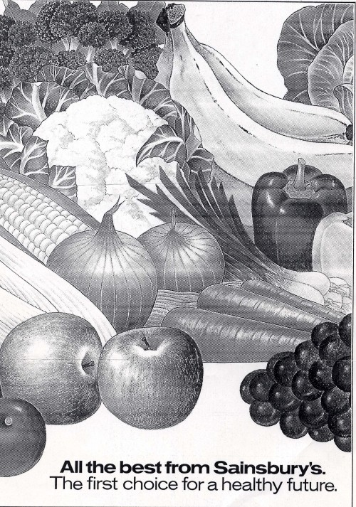SA/MARK/ADV/1/1/1/1/2/12 - Photocopy of illustration of fruit and vegetables with slogan, [1970s]