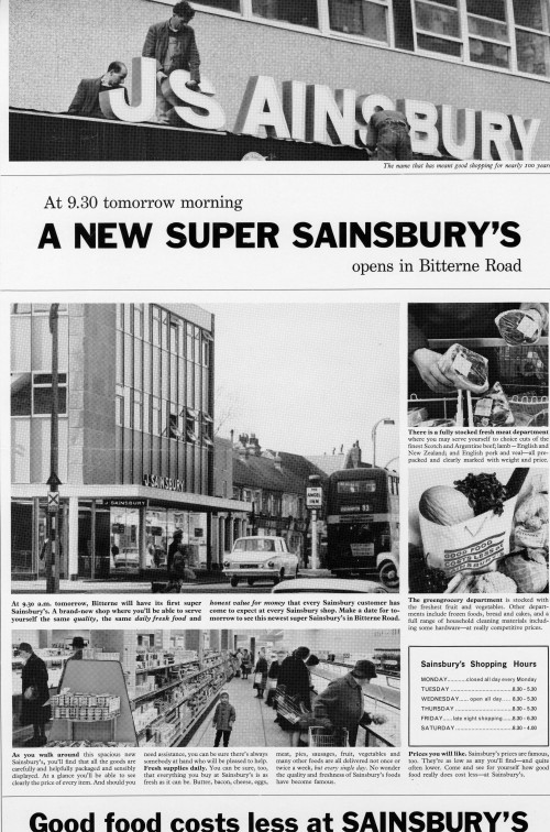 SA/MARK/ADV/1/1/1/1/2/6/27 - Advertisement (proof) for Southampton: Bitterne store opening