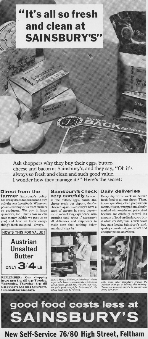 "SA/MARK/ADV/1/1/1/1/2/6/41 - ""It's all so fresh and clean at Sainsbury's"" advertisement proof for new self-service store 76/80 High Street, Feltham"