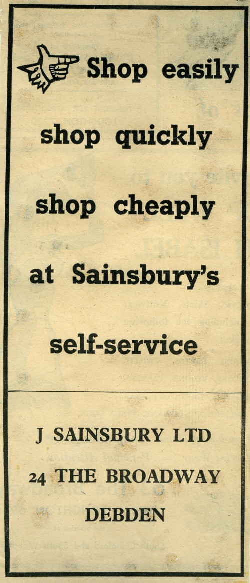 """SA/MARK/ADV/1/1/1/1/5/1/214 - """"Shop easily, shop quickly, shop cheaply at Sainsbury's self-service"""" newspaper advertisement for Debden store"""