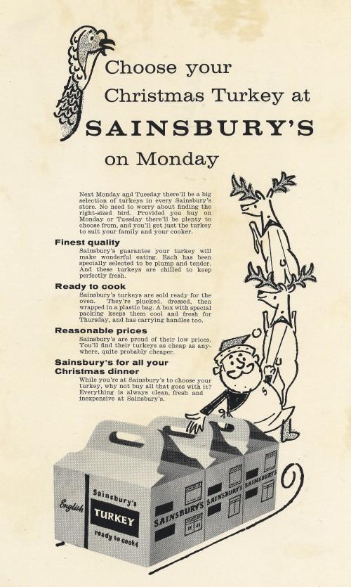 "SA/MARK/ADV/1/1/1/1/5/1/242 - ""Choose Your Christmas Turkey at Sainsbury's"" advertisement"