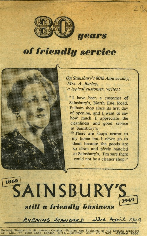 "SA/MARK/ADV/1/1/1/1/5/1/99 - ""80 Years of friendly service at Sainsbury's"" newspaper advertisement"