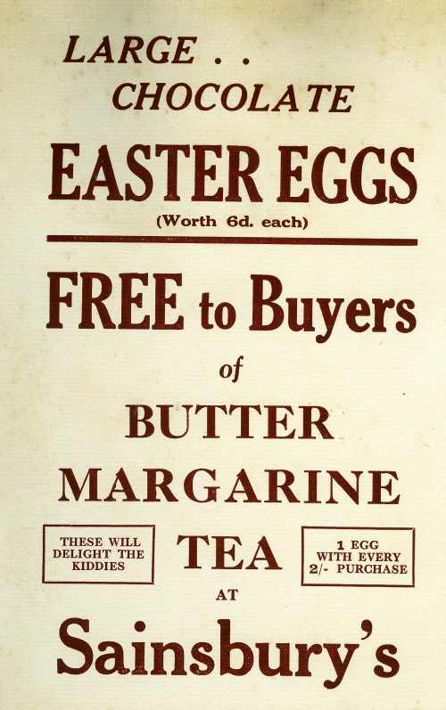 "SA/MARK/ADV/1/3/8/1 - ""Large.. Chocolate Easter Eggs"" promotional gift handbill, c.1932"