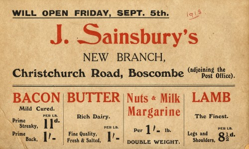 SA/MARK/ADV/2/4/1/1 - Show card advertising prices at Boscombe (Christchurch Road) branch