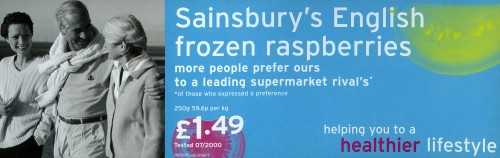 "SA/MARK/ADV/2/4/5/1/1 - ""English frozen raspberries"" point of sale advertisement (barker card)"