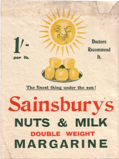 SA/MARK/ADV/3/2/1/18/1/1/3 - Handbill 'Sainsbury's Nuts & Milk' margarine, [c.1913]