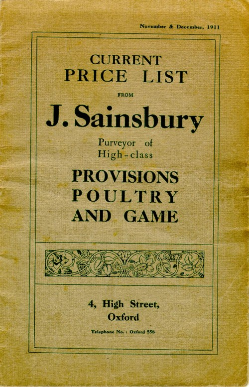 SA/MARK/ADV/3/3/1/1 - 'Current Price List from J. Sainsbury, purveyor of High Class Provisions Poultry and Game', Nov-Dec 1911