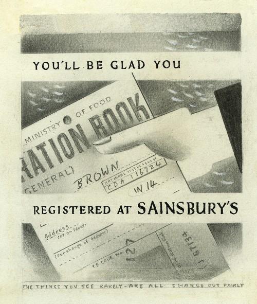 """SA/MARK/ADV/6/2/2/1 - """"You'll Be Glad You Registered at Sainsbury's"""" poster artwork"""