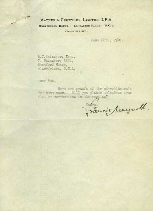SA/MARK/ADV/6/2/3/1 - Letter regarding advertisment proofs from Mather and Crowther to R.J. Sainsbury