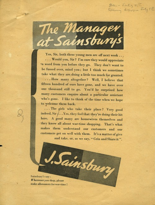 "SA/MARK/ADV/6/2/3/2 - ""The Manager at Sainsbury's"" proof of newspaper advertisement"