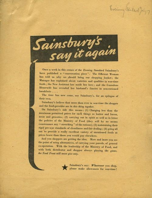 "SA/MARK/ADV/6/2/3/7 - ""Sainsbury's say it again"" proof of newspaper advertisement"