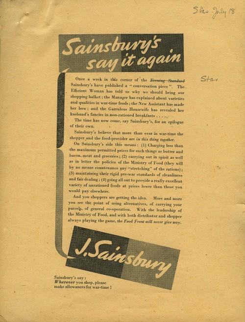 "SA/MARK/ADV/6/2/3/8 - ""Sainsbury's say it again"" proof of newspaper advertisement"