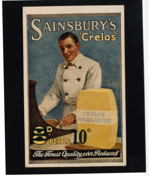 SA/MARK/ADV/IMA/1/1/1 - Photograph of Sainsbury's Crelos margarine advertisement (with price altered to 10d.)