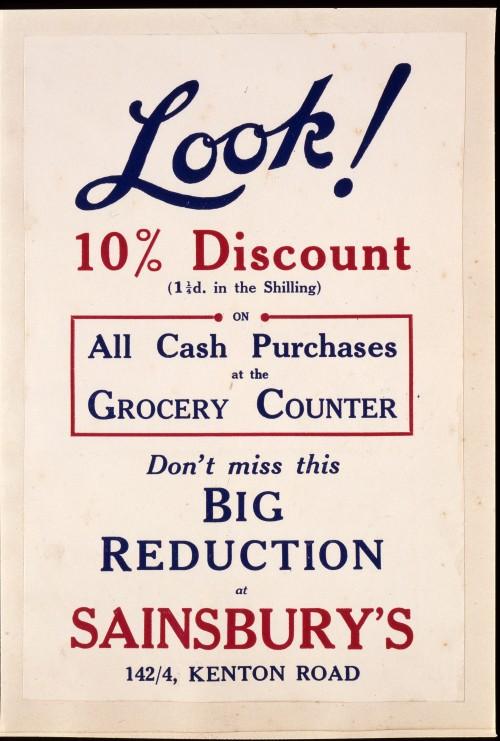 "SA/MARK/ADV/IMA/1/1/4 - Photograph (transparency) of ""Look 10% Discount"" (142/4 Kenton Road branch) advertisement"