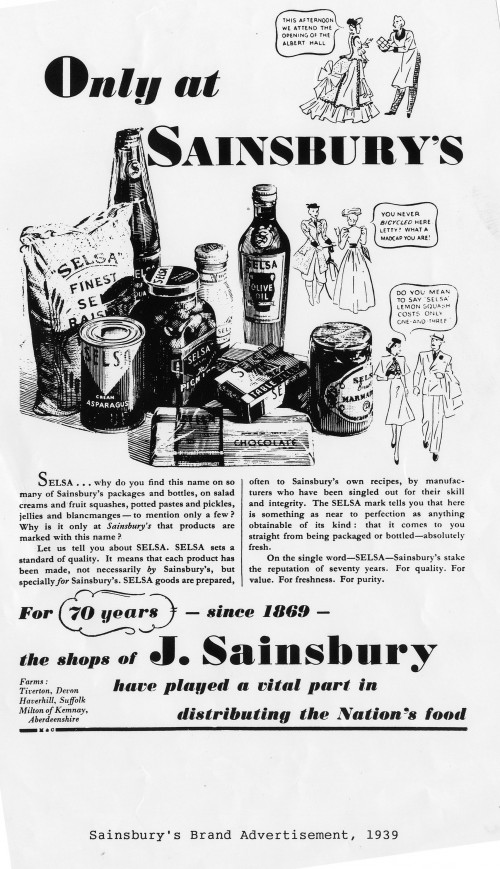 "SA/MARK/ADV/IMA/1/1/5 - Photograph of ""Only at Sainsbury's"" Selsa brand advertisement"