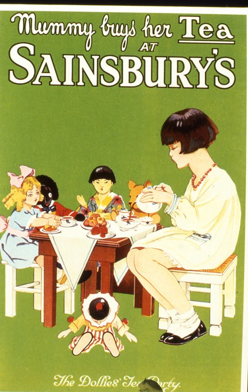 "SA/MARK/ADV/IMA/1/2/2 - Slide photograph of ""Mummy Buys Her tea at Sainsbury's"" - The Dollies Tea Party advertisement"
