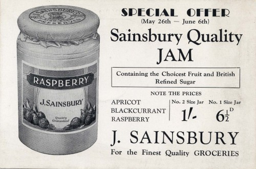 """SA/MARK/ADV/IMA/3/2/4/1 - Image of """"Special Offer (May 26th - June 6th) Sainsbury Quality Jam"""" advertisement"""