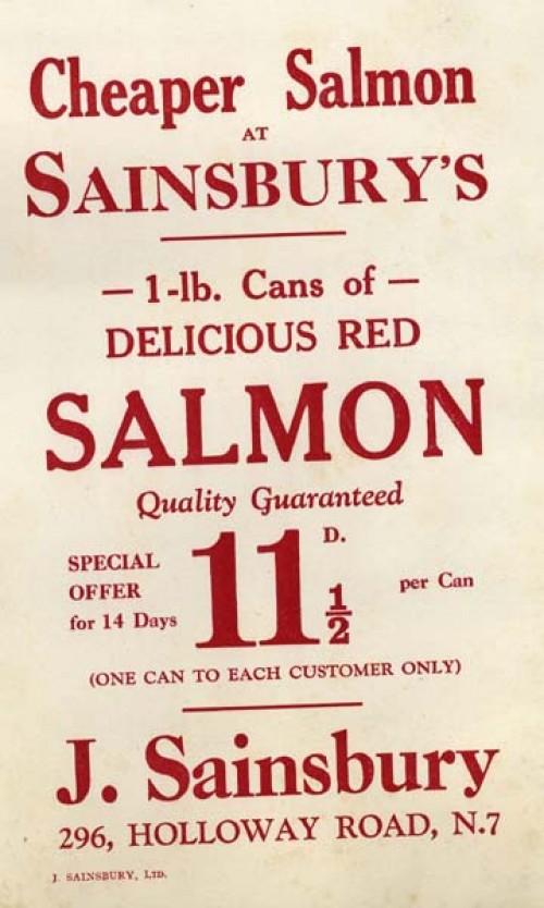 """SA/MARK/ADV/IMA/3/2/4/4 - Image of """"Cheaper Salmon at Sainsbury's"""" advertisement"""
