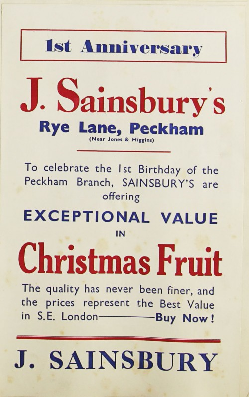 SA/MARK/ADV/1/1/1/1/1/9/102 - '1st Anniversary' of the Peckham store at Rye Lane advert, 1932