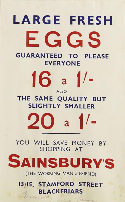 SA/MARK/ADV/1/1/1/1/1/9/111 - 'Large Fresh Eggs' advert, c. 1930s