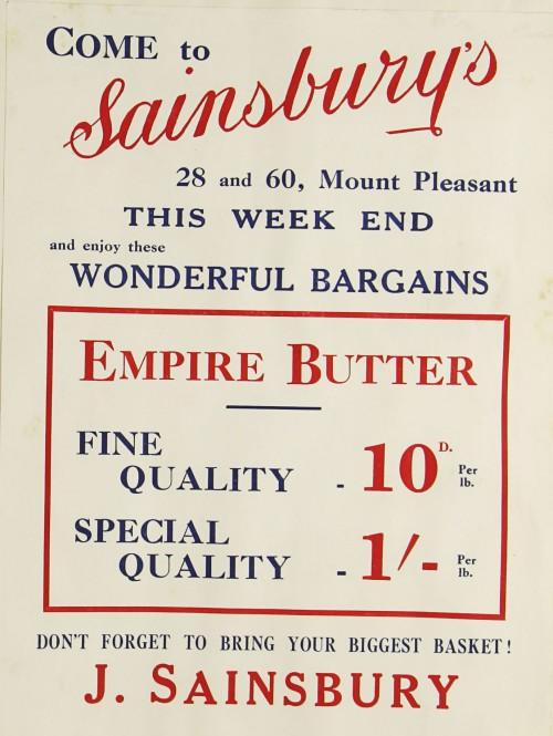 SA/MARK/ADV/1/1/1/1/1/9/113 - 'Come to Sainsbury's' Butter advert, c. 1930s