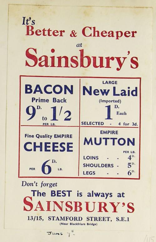SA/MARK/ADV/1/1/1/1/1/9/115 - 'It's Better and Cheaper at Sainsbury's' advert, 1933