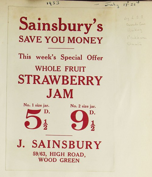 SA/MARK/ADV/1/1/1/1/1/9/117 - 'Sainsbury's Save You Money' Strawberry Jam advert, 1933