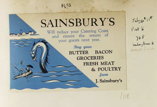 SA/MARK/ADV/1/1/1/1/1/9/118 - 'Sainsbury's Will reduce your Catering Costs and ensure the return of your guests next year' showcard, 1933
