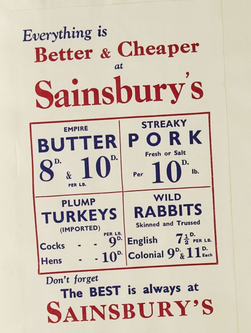 SA/MARK/ADV/1/1/1/1/1/9/130 - 'Everything is Better & Cheaper at Sainsbury's' advert, c. 1930s