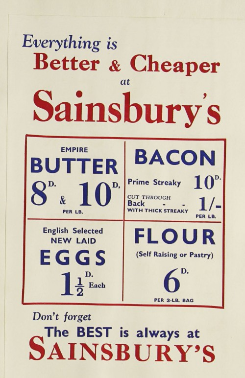 SA/MARK/ADV/1/1/1/1/1/9/131 - 'Everything is Better & Cheaper at Sainsbury's' advert, c. 1930s
