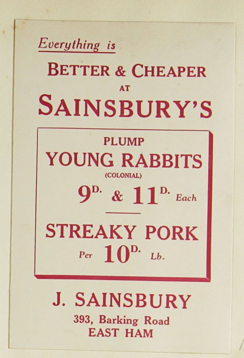 SA/MARK/ADV/1/1/1/1/1/9/133 - 'Everything is Better & Cheaper at Sainsbury's' Rabbit and Pork advert, c. 1930s