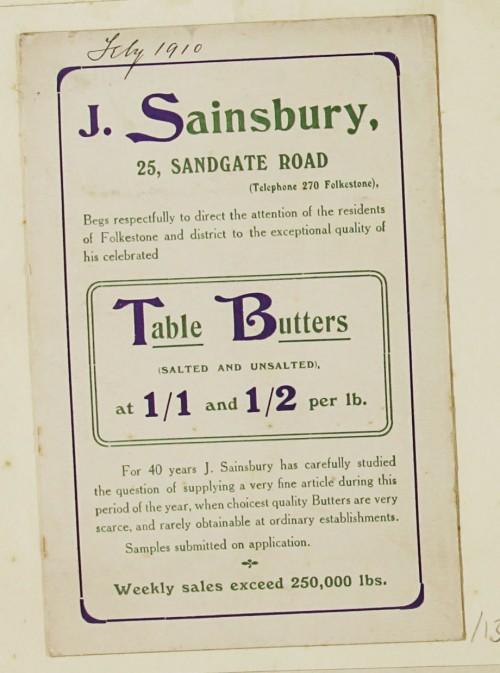 SA/MARK/ADV/1/1/1/1/1/9/13 - 'Table Butters' advert, 1910