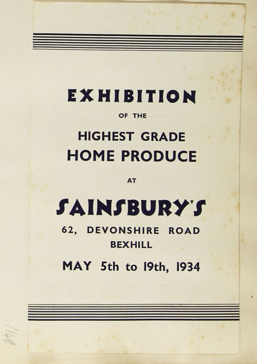SA/MARK/ADV/1/1/1/1/1/9/148 - 'Exhibition of the Highest Grade Home Produce at Sainsbury's' Bexhill price list, 1934