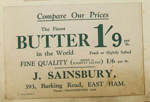 SA/MARK/ADV/1/1/1/1/1/9/14 - 'Compare Our Prices' Butter advert, c. 1920s