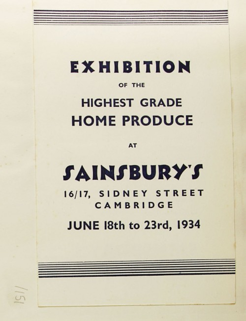 SA/MARK/ADV/1/1/1/1/1/9/151 - 'Exhibition of the Highest Grade Home Produce at 16/17, Sidney Street, Cambridge' price list, 1934