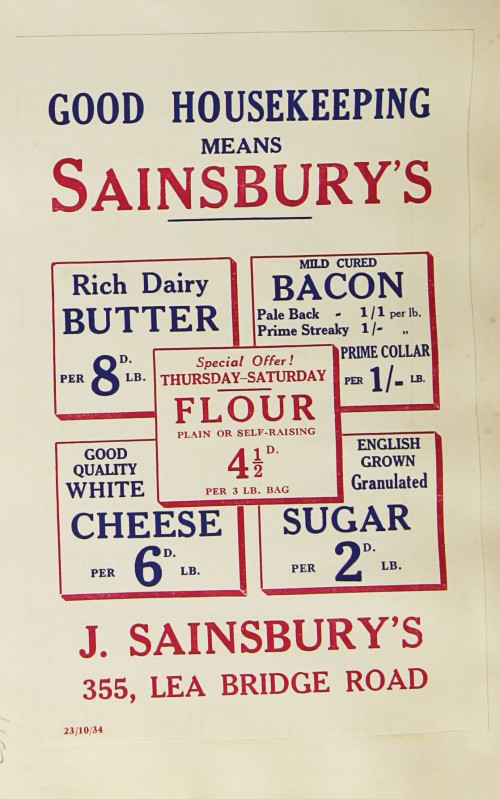 SA/MARK/ADV/1/1/1/1/1/9/167 - 'Good Housekeeping Means Sainsbury's' advert, 1934