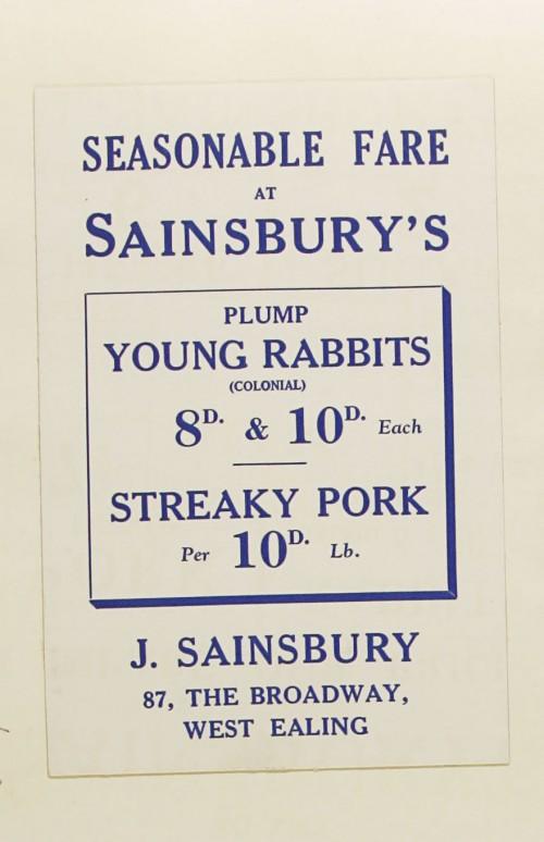 SA/MARK/ADV/1/1/1/1/1/9/170 - 'Seasonable Fare at Sainsbury's' card, [1934]