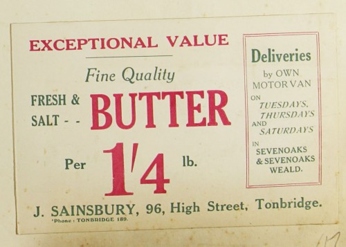 SA/MARK/ADV/1/1/1/1/1/9/17 - 'Exception Value Fine Quality Fresh and Salt Butter' advert, c. 1920s