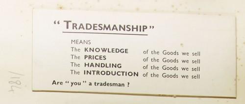 "SA/MARK/ADV/1/1/1/1/1/9/184 - ""Tradesmanship"" card, c. 1935"