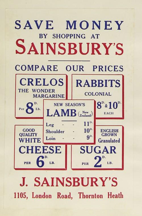 SA/MARK/ADV/1/1/1/1/1/9/188 - 'Save Money By Shopping At Sainsbury's' advert, c. 1935
